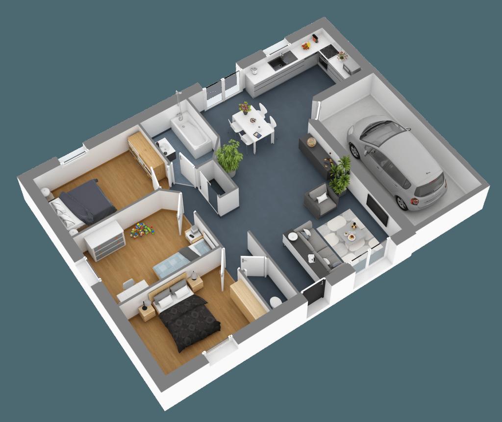 Plan intérieur maison 80 m²