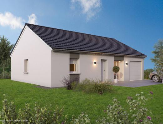 Modèle de maison 2 pans avec garage