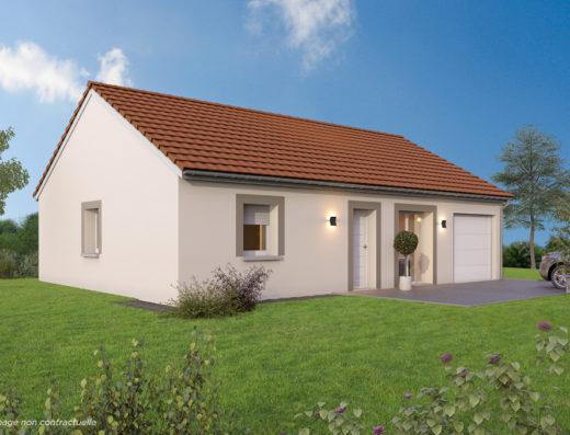 Modèle de maison neuve 2 pans avec garage